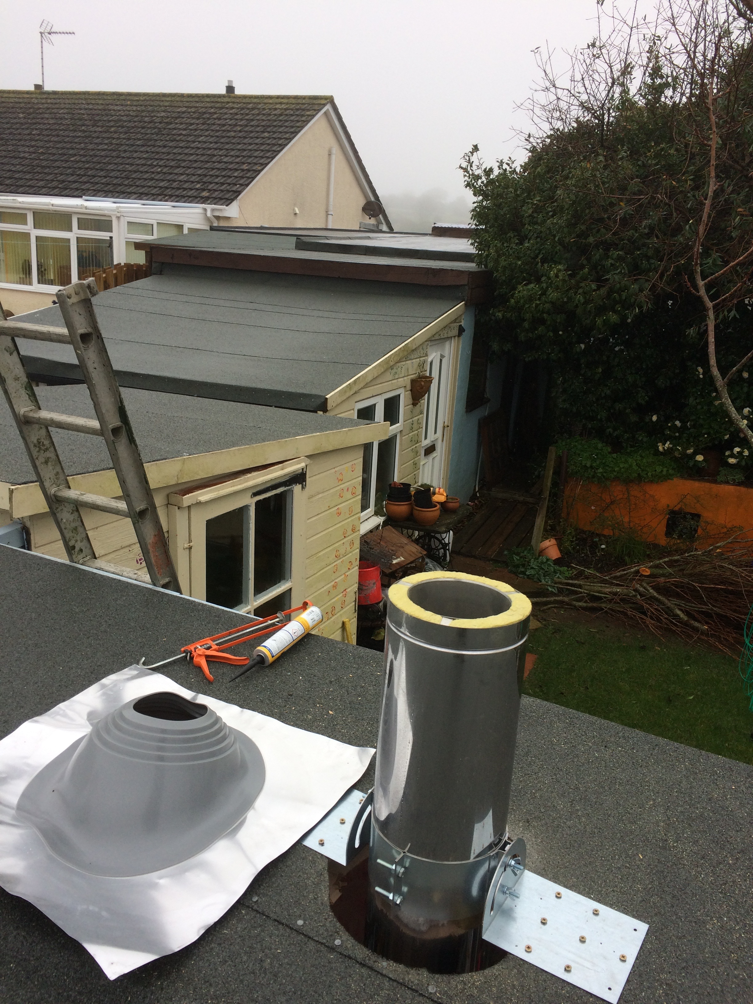 Woodburner Installation - Aluminium flashing kit - flat roof